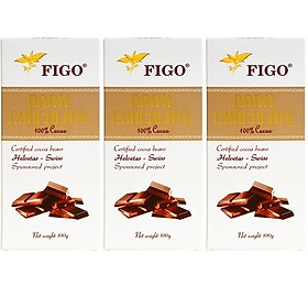 Combo 3 thanh Kẹo Socola đen đắng 100% cacao Figo 100gram