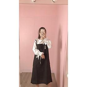Set váy yếm 2 dây dáng dài phối áo sơ mi bèo cổ tròn tay buộc nơ phong cách ulzzang