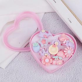 Hộp nhẫn xinh xắn nhiều màu sắc cho bé gái (12pcs) – J013