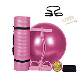 3PCS Yoga Set Kit Yoga Mat Exercise Ball Pull Rope Pedal Ankle Puller Fitness Home Gym Sport Equipment Indoor Outdoor