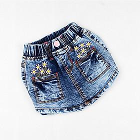 Quần váy jean túi thêu hoa xinh xắn cho bé gái 8-14 tuổi từ 26 đến 40 kg 01867