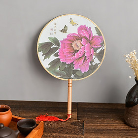 Quạt tròn cổ trang thân gỗ hoa phú quý