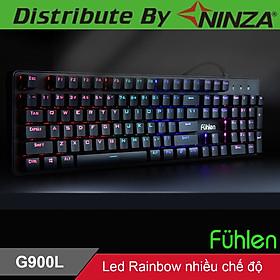 Bàn phím cơ gaming có dây Fuhlen G900l Led Rainbow Blue Switch tem Ninza - Hàng chính hãng