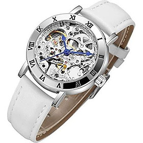 IK Women's Steampunk Automatic Mechanical Watch, Genuine Leather Watch Band Strap Self Winding Lady Dress Wrist Bracelet Watch