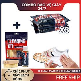 3 Gói Giấy Ướt Lau Giày Sneaker Clean Master + Bộ Dung Dịch Vệ Sinh, Bàn Chải Tẩy Trắng Làm Sạch Cho Dép, Giày Vải, Da