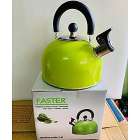 Ấm đun nước bếp từ Faster 2.5L màu xanh, có còi báo- hàng chính hãng