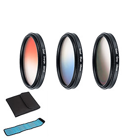 3 pcs/set Orange + Blue + Gray Round Gradient Filter for Nikon Canon EOS 7D 5D 6D 50D 60D 600D d5200 d3300 d3200