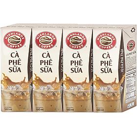 Lốc 4 Hộp Highlands Coffee Cà Phê Sữa Tetra Pack (180ml x 4 Hộp)