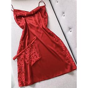 Váy ngủ lụa phối ren kèm quần Yoko dress - Bộ ngủ lụa