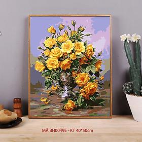 Tranh sơn dầu số hoá tự vẽ - Mã BH0049E Hoa sơn trà vàng