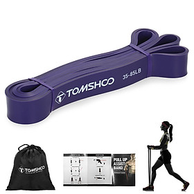 TOMSHOO 4pcs Pull Up Assist Bands Set Resistance Loop Bands Powerlifting Workout Exercise Stretch Bands with Carry Bag
