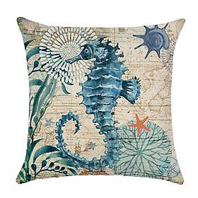Vỏ Gối Ghế Sofa Vải Cotton Họa Tiết Bãi Biển Trang Trí (45x45cm)