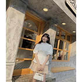 Sét chân váy nude kèm áo trắng nhún M.0.N Boutique
