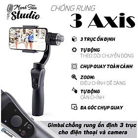 Tay cầm chống rung Gimbal 3 Axis Handheld - Gậy gimbal đa năng cho điện thoại adroid, IOS -  3 trục xoay, kết nối bluetooth, zoom xa gần ngay trên gậy - Tích hợp cổng USB sạc pin cho điện thoại - Hàng chính hãng