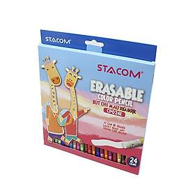 Bút chì màu gỗ xóa được Stacom 24/12 màu CP024E