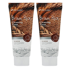 Combo 2 Sữa Rửa Mặt  Sáng  Mịn và Phục Hồi Da Chiết Xuất Từ Gạo 3W Clinic Brown Rice Foam Cleansing (100ml) - Hàn Quốc Chính Hãng
