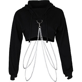 Women Fashion Long Sleeve Pullover Hoodie Crop Top Metal Chain Sweatshirt