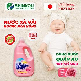 Nước xả vải hương Hoa Hồng tự nhiên SHINKOU (Hàng Nội Địa Nhật Bản) - Kháng khuẩn 24h - Dùng được cho quần áo em bé