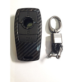 Ốp nhựa carbon lót silicon bọc, bảo vệ chìa khóa cho xe Mercedes E Class kèm móc đeo INOX