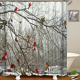 Hình đại diện sản phẩm Shower Curtain Flowers Trees Print Blackout Curtains Waterproof Mildew-proof Bathroom Curtain 71