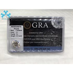 SIZE 12Ly - Kim cương nhân tạo - Moissanite nước D - VVS1 . Kiểm định quốc tế GRA.