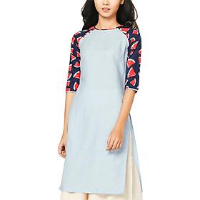 Áo Dài Linen Phối Tay Cotton Dưa Hấu Vicky Boutique AD815 - Xanh Biển