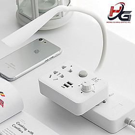 Ổ Cắm Điện Thông Minh Đa Năng 3 in 1 Kiêm Đèn Ngủ - Bộ Cắm Điện 2 Cổng USB Sạc Điện Thoại Siêu Tiện Lợi