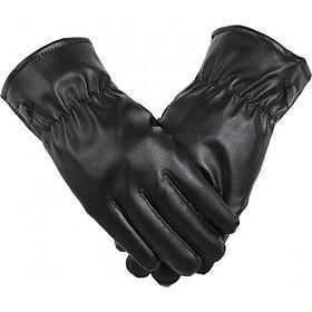 Găng tay da nam cảm ứng chống nước lót lông giữ ấm mùa đông