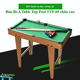 Đồ chơi bàn Bi-A bằng gỗ chân cao 69x37x60cm Table Top Pool Table TTP-69CC cho cả người lớn và trẻ nhỏ - Hàng chính hãng