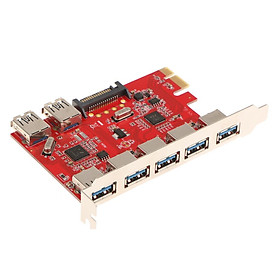 PCI-E to USB3.0 7 Port PCI Express Card Connector Adapter 5Gbps for Desktop