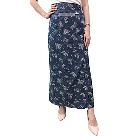 Váy chống nắng xẻ tà chất liệu JEAN hoa văn-VJXT0035