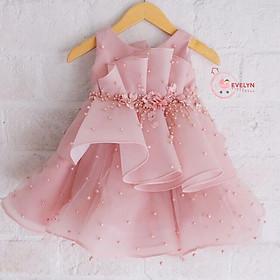 Đầm công chúa voan hồng cho bé từ 1 - 12 tuổi