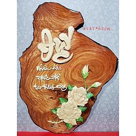 Tranh gỗ thư pháp nghệ thuật chữ ĐỨC -KT47*63
