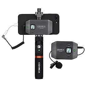 Bộ Micro Không Dây Comica CVM-WS50(A) Cho Iphone Samsung Huawei (6 Kênh UHF Dãy Tín Hiệu 197ft Giá Điện Thoại, Tay Cầm, Bộ Điều Khiển, Túi Đeo)