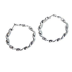 Bông tai nữ bạc S925 khuyên tai vòng tròn xoắn