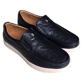 Giày mọi nam Trường Hải màu xanh lam bò da bò thật cao cấp không bong tróc đế cao su chống mòn không trơn GMTH098