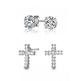 Hình đại diện sản phẩm Bộ Bông tai nụ và bông tai chữ thập Mestige Cross Earrings Set with Swarovski Crystals - Silver (12mm)