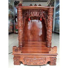 Bàn Thờ Thần Tài Ông Địa đẹp gỗ Xoan nâu ngang 48cm cao 68cm.