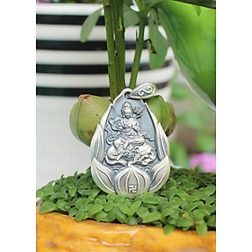 Hình đại diện sản phẩm Dây chuyền Bình An _Cao cấp_cho Nữ tuổi Thìn_ Mệnh Mộc Phật Phổ Hiền Bồ Tát_ Bạc Thái 9999 AZU4