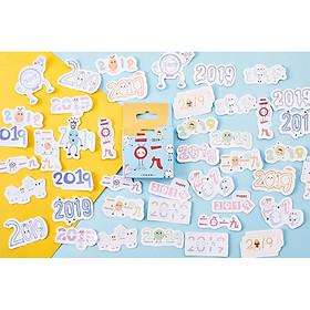 Hộp 46 Miếng Dán Sticker Trang Trí 2019