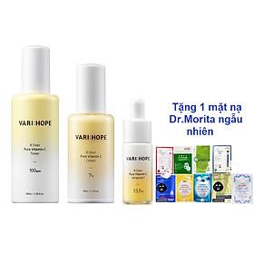 Bộ 3 Sản Phẩm Làm Sáng Da, Mờ Thâm Nám Trong 8 Ngày VariHope 8 Days Pure Vitamin C Gồm Toner 100ml + Serum 15g + Kem dưỡng 50ml (Tặng Kem 1 Mặt Nạ Dr.Morita)