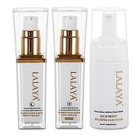 Bộ 3 kem dưỡng da chuyên sâu Kem dưỡng da ban ngày có chống nắng + Kem dưỡng da ban đêm chống lão hóa, ngăn ngừa nám làm giúp giảm sự xuất hiện của nếp nhăn và Sữa rửa mặt tạo bọt dịu nhẹ làm sạch sâu & giảm nhờn công thức không xà phòng LALAYA Nano Collagen Day & Night Cream LLYC3