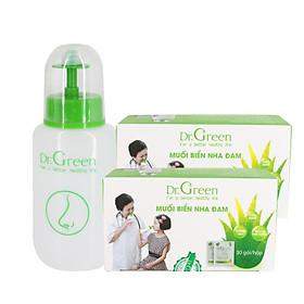 Bộ Rửa Mũi Dr.Green (Combo Tiết Kiệm 1 Bình + 60 Gói Muối biển nha đam), Đầu rửa silicone mềm mại, công nghệ van kép 1 chiều chống sặc, giảm viêm mũi, sổ mũi, viêm mũi dị ứng, viêm xoang
