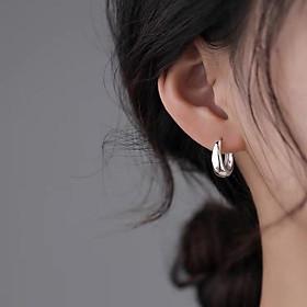 Khuyên tai bạc nữ vòng tròn hình giọt nước