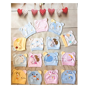 Set 5 mũ / nón vải cotton tai thỏ in hình ngộ nghĩnh cho bé sơ sinh (dưới 3 tháng)