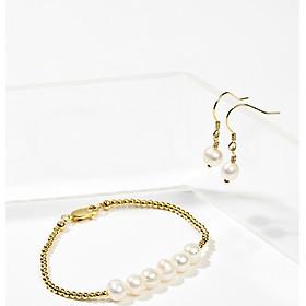 Bộ vòng tay & bông tai ngọc trai trắng phối bi bạc mạ vàng trẻ trung - Cami.J