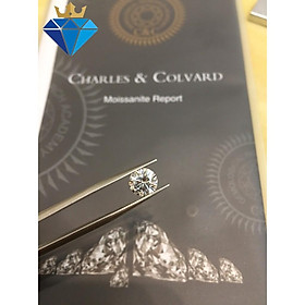 (Size từ 4.5-7.5 ly) Kim cương nhân tạo Mỹ Moissanite giác cắt tròn màu xám