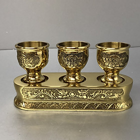 Bộ chung nước thờ cúng 3 ly bằng đồng mẫu ly hoa sen