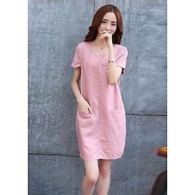 Đầm suông cổ tròn 2 túi trước LAHstore, thời trang trẻ, phong cách Hàn Quốc