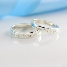 Nhẫn cặp đôi bạc trơn khắc tên Love Forever ND0052